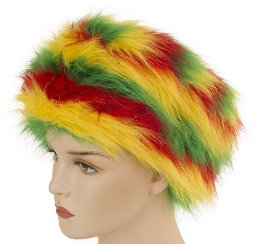 Karneval Reggae Pelzmütze rot gelb grün