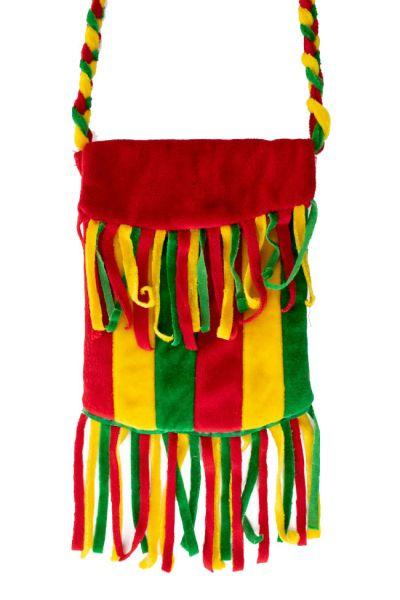 Fasching Tasche mit Fransen rot gelb grün Reggae