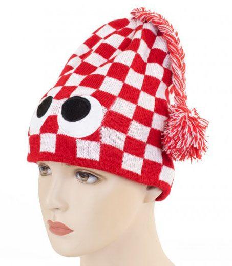 Kölner Strickmütze rot weiß kariert mit Augen