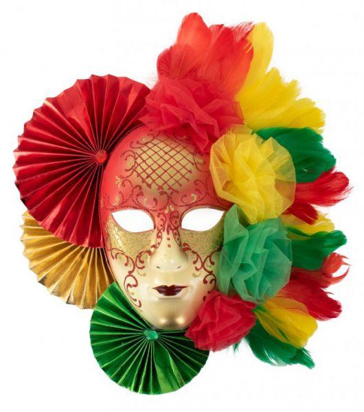 Karnevalsdekoration Maske rot gelb grün