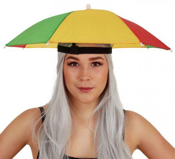 6 Fasching Kopf Regenschirme rot gelb grün