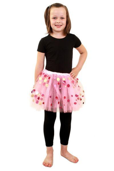 Tüllrock rosa mit Punkten Mädchen