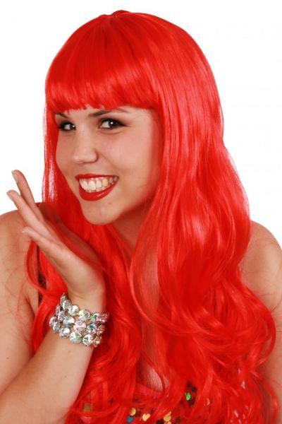 Perücke lange glatte Haare Damen Perücke rot Sensation