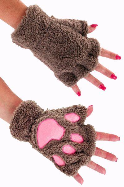 Fingerlose Handschuhe braune Bärentatze