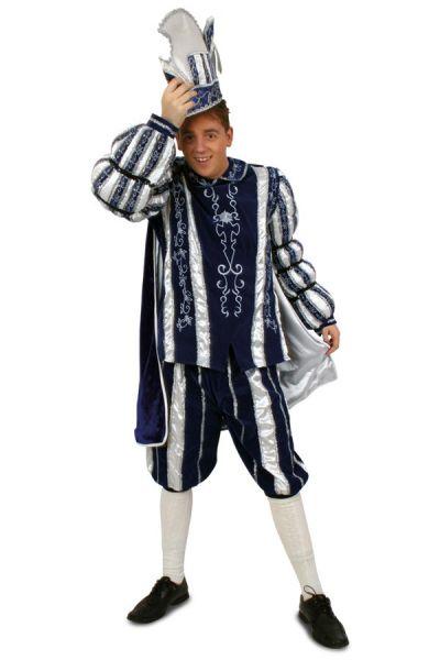 Prinz Karneval Kostüm Anzug blau weiß