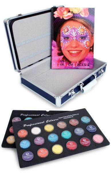 Schminke Koffer mit 36x10g Schminke Gläser und Schminkbuch