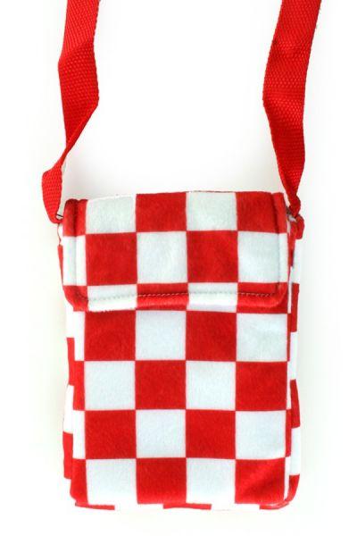 Rote weiß karierte Tasche mit Reißverschluss Köln