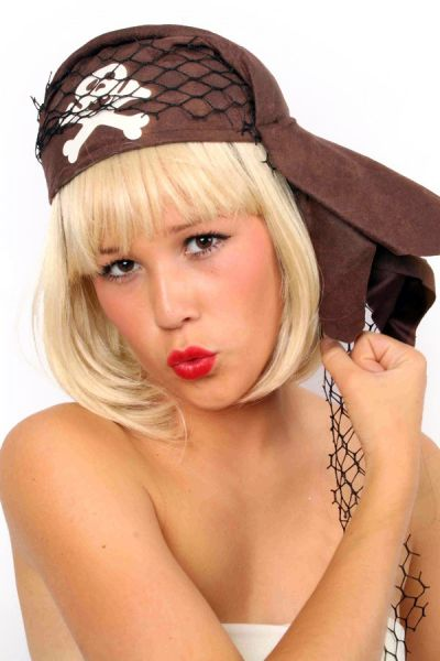 Piratenmütze braun mit Deko
