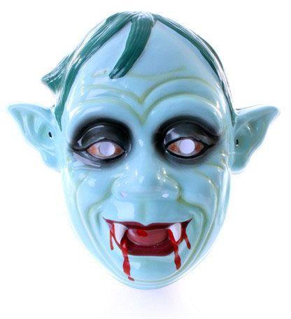 Zombiemaske mit blutigen Zähnen spitzen Ohren