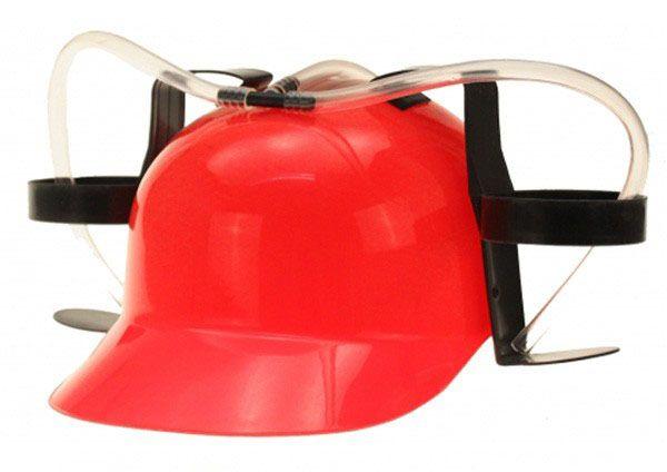 Roter Helm mit 2 Bierflaschenhaltern