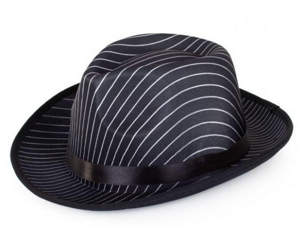 Al Capone Hut schwarz mit Nadelstreifen