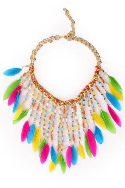 Halskette mit bunten Federn Ibiza Indian