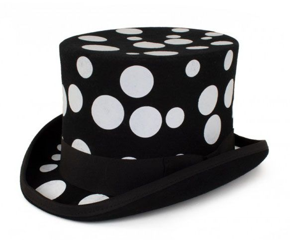 Schwarzer Zylinder Hut mit weißen Kugeln