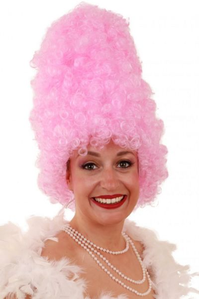 Lustige Perücke Geschweift hoch rosa