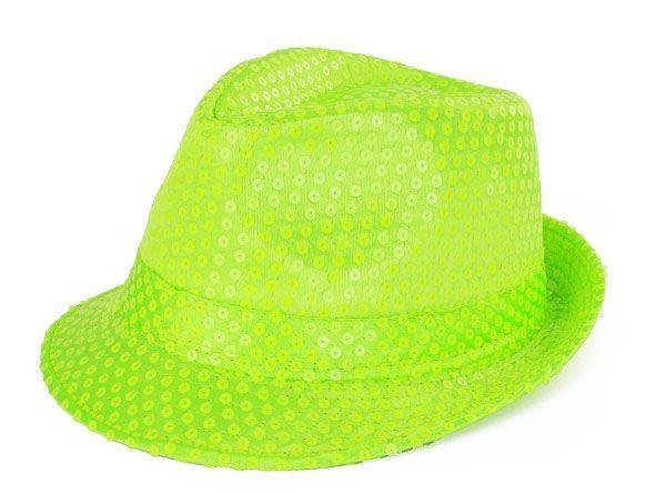Delle Hut Fluor Grün mit Pailletten