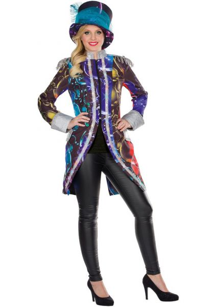 Karneval Damen Kostüm LED Frack Mantel Bubble Seifenblasen bunt