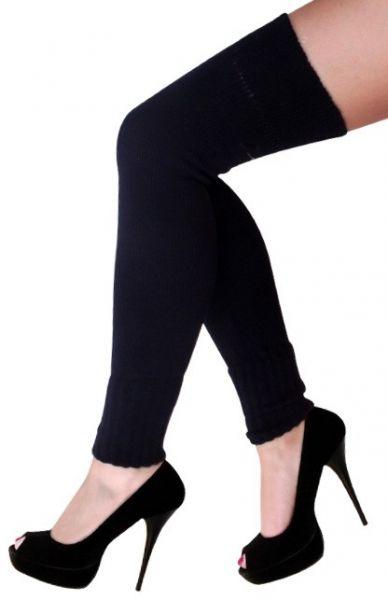 Damen Knie über Beinwärmer schwarz