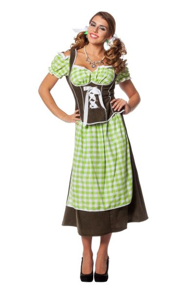 oktoberfest dirndl kleid lang tiroler kleidung gr n kost me f r fasching karneval und. Black Bedroom Furniture Sets. Home Design Ideas