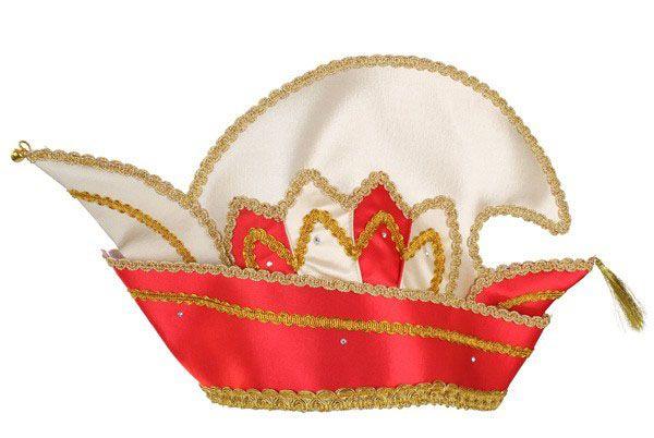 Prinz Karneval Mütze rot mit Steinen