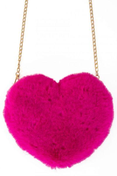 Tasche Plüsch Herz rosa