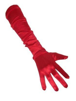 Rote Satin Handschuhe