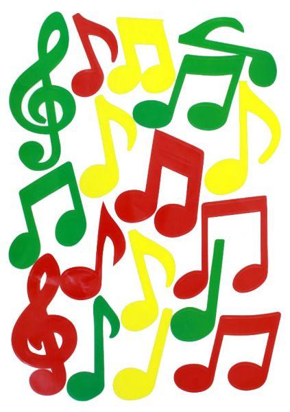 Fasching Fensteraufkleber Musiknoten rot gelb grün