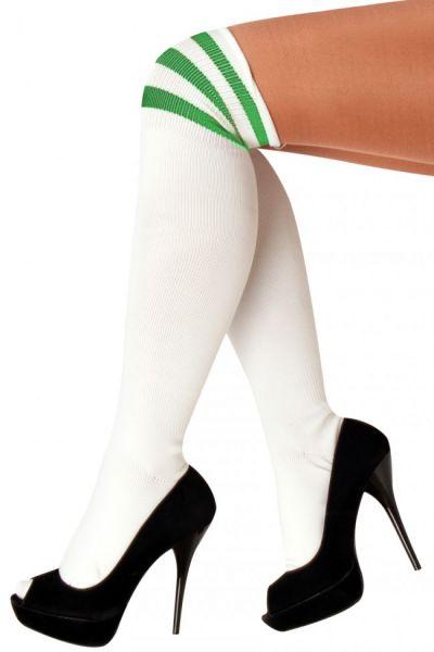 Kniestrümpfen weiß mit grüne Streifen