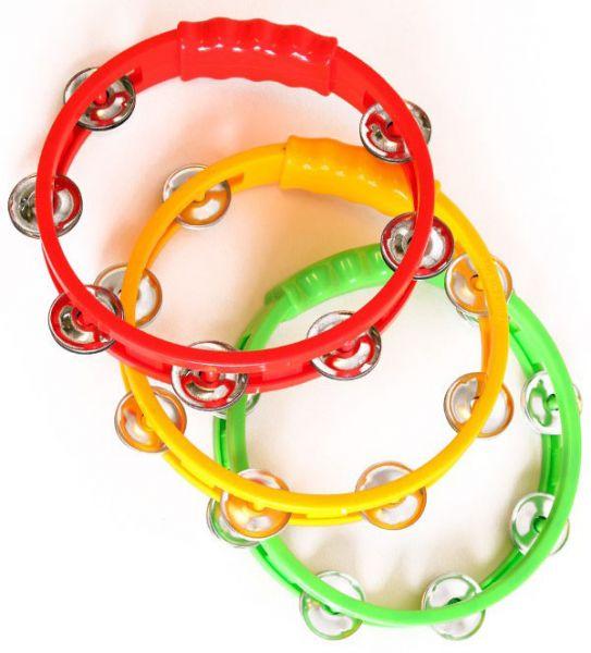 6 Tamburine in den Farben rot gelb grün