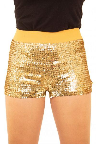 Hotpants mit Pailletten Gold