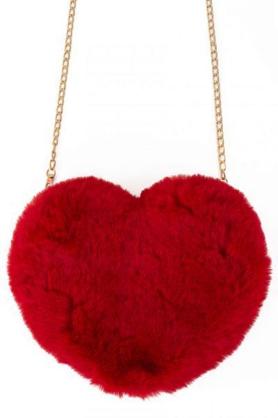 Tasche Plüsch Herz rot