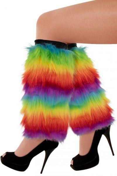 Beinlinge Regenbogenfarben Plüsch