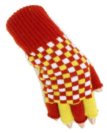 Fingerlose Handschuhe rot weiß gelb kariert