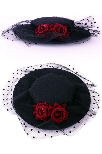 Hut flaches Modell auf Stifte mit Rosen und Globuli mesh