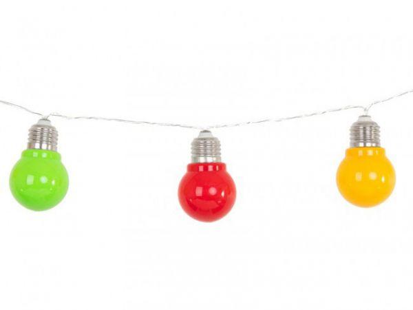 Karnevalsdekoration Lichterkette 10 Lampen rot gelb grün