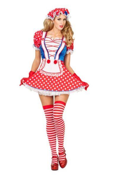 Sexy Karnevalskostüme Rot weißes Kleid mit Nieten