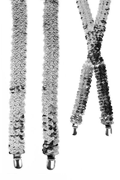 Hosenträger Pailletten silber