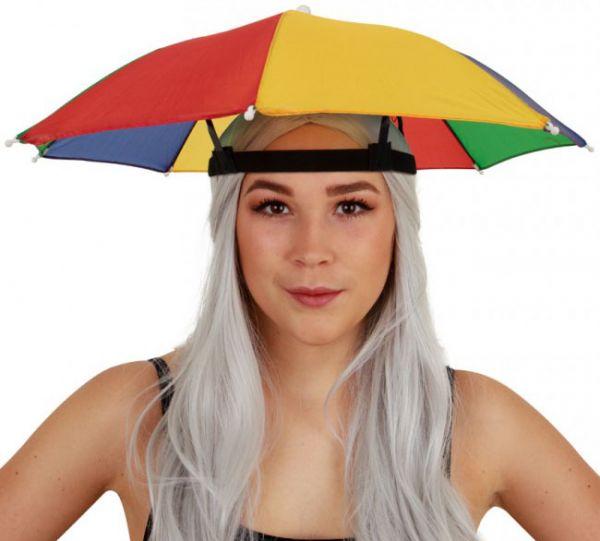 6 Fasching Kopf Regenschirme rot gelb grün blau