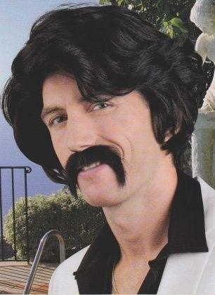 Herren Perücke mit Schnurrbart schwarz