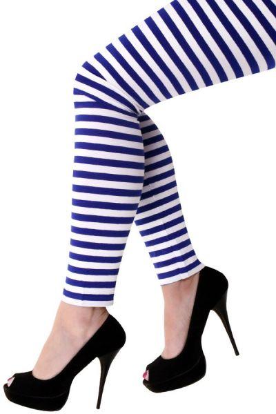Legging donkelblau weiße gestreifte