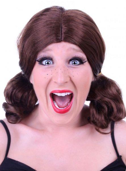 Braune Damen Perücke mit Zöpfen