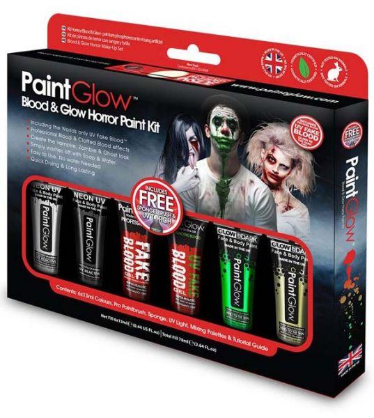 PaintGlow Blut Glow Horror Halloween Schminke kit