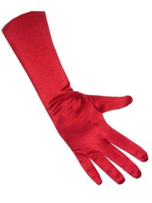 Rote Gala Handschuhe Satin Stretch 40 cm