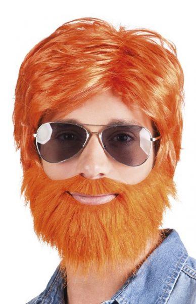 Orange Perücke mit Bart Dude