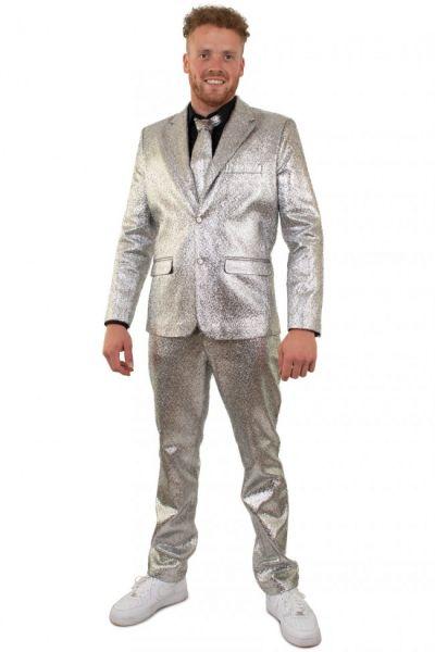 Silber auffälliges Metallic-Disco-Kostüm