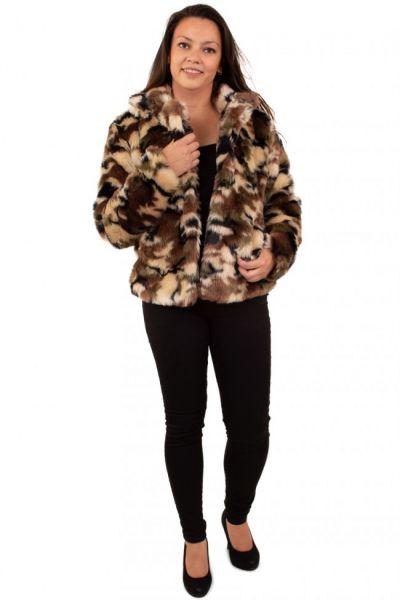 Damen Pelzmantel camouflage Tarnung