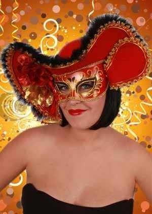 Venezianische Hut mit Augenmaske Dame rot