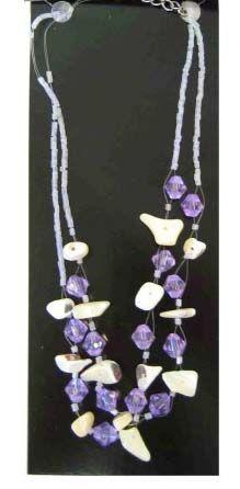 Indianer Halskette mit lila und weißen Steinen