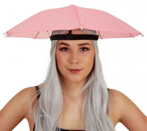 6 Fasching Kopf Regenschirme rosa