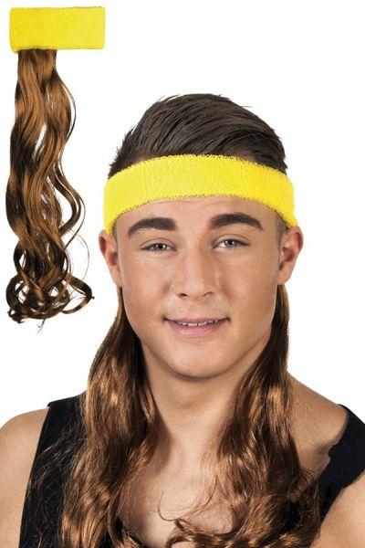 Stirnband gelb mit braunen Haaren