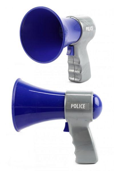 Polizeimegaphon blau grau